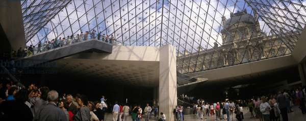 Panoramic view of the interior of the pyramid of the Louvre Museum in Paris. Architect of the pyramid: Ieoh Ming Pei.