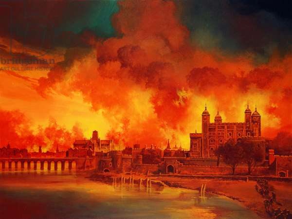 The Fire of London (colour litho)