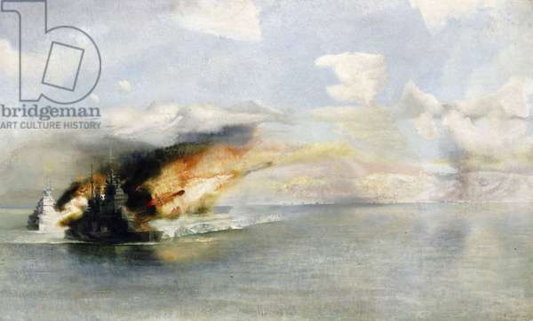 Capital ship of war bombing Salerno (Italy). Major phase for the success of the military landing of the Allies, during the second world war (1939-1945). (oil on canvas)