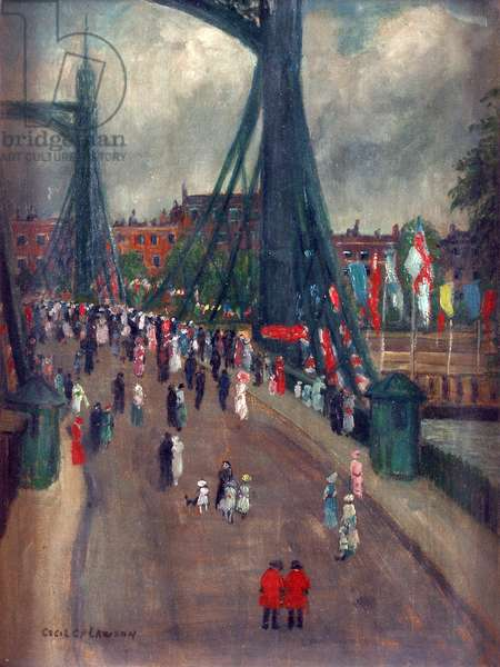 The coronation procession of King George V of the United Kingdom (1865-1936) and Queen Mary (born Victoria Marie de Teck 1867-1953), on the Battersea Bridge, June 1911. The bridge, decorated for the occasion with flags, the crowd, elegantly dressed, follows the route of the itinerary and looks towards Westminster Abbey, in the foreground, two Chelsea boarders in red suits, watch the scene. (oil on the wood)