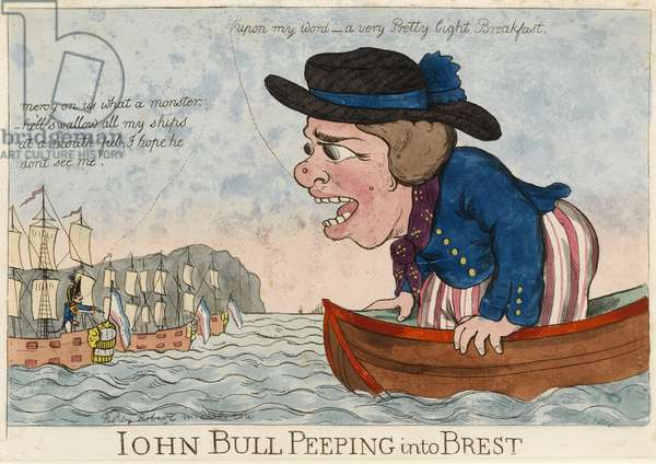 """""""John Bull leering at the city of Brest in 1803"""" Caricature showing a huge John Bull on a tiny boat facing the French ships moored in the port of Brest (Brest blockade)"""