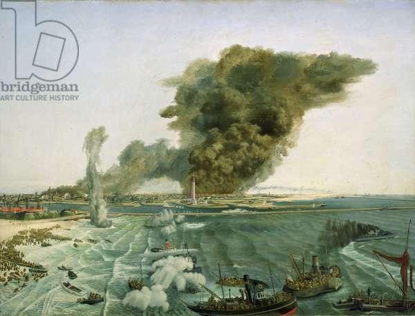 Le retrait de Dunkerque (France), juin 1940 (oil on canvas)