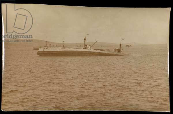 Photograph of the sinking of the German fleet at Scapa Flow.Prinzregent Luitpold, 2nd Stage.