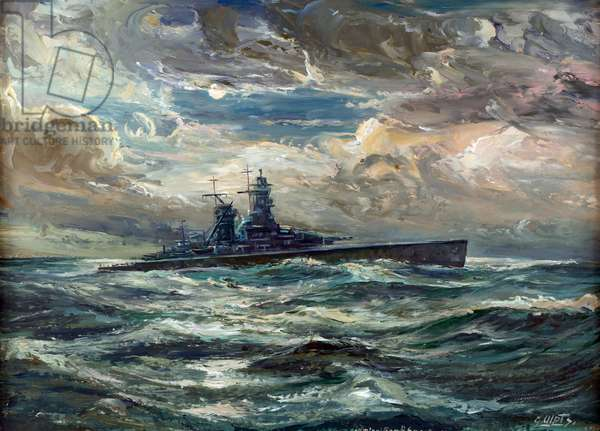 """The German cruiser """"Admiral Graf Spee"""", built in 1932 (oil on canvas), 1939"""