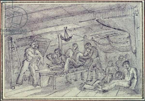 Une amputation durant une bataille dans la soute d'un navire c.1820 (drawing)