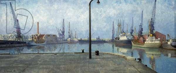 Les quais de Goole (Angleterre), au petit jour, avec les bateaux amarres, les grues et tous les equipements d'activites portuaires