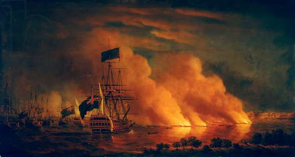 French firerafts attacking the English fleet off Quebec, 28 June 1759 by Samuel Scott Digitsed for the Nelson, Navy, Nation