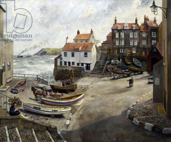 Robin Hood's Bay during wartime. (oil on canvas)