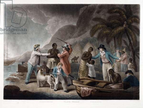 Traite des noirs. Un marchand d'esclaves tente de negocier un homme que se disputent deux proprietaires tandis que la femme et l'enfant de l'esclave sont mis a l'ecart. Gravure de John Raphael Smith, 1814 d'apres la peinture de George Morland (1763-1804) de 1788. Dim : 580 x 764 mm ©National Maritime Museum, Greenwich/Leemage