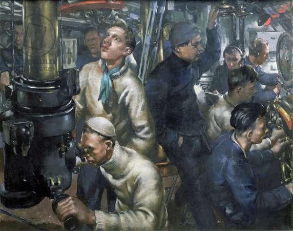 """Stand by tubes"""""""" (ordre de tirer les torpilles) dans la salle de controle du sous-marin (sous marin) HMS Stubborn. Pastel sur papier, 1943, de William Dennis Dring (1904-1990)."""