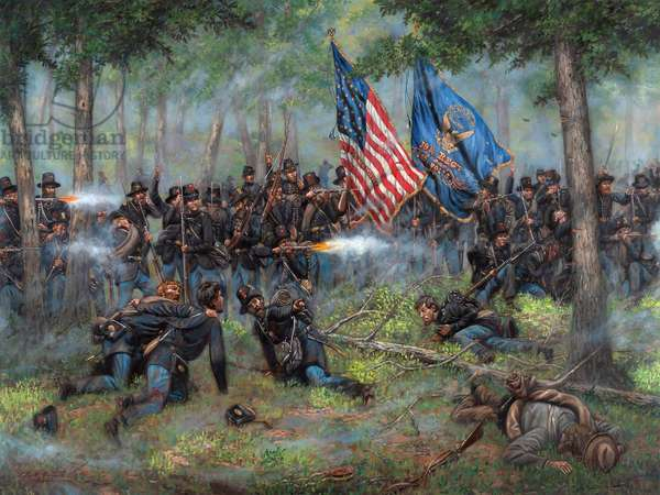 Brothers of War - The 19th Indiana at Gettysburg, 2021 (oil on canvas)