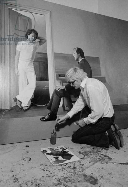 David Hockney painting, 1972 (b/w photo)