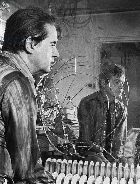 Francis Bacon in mirror, possibly 1971 (b/w photo)