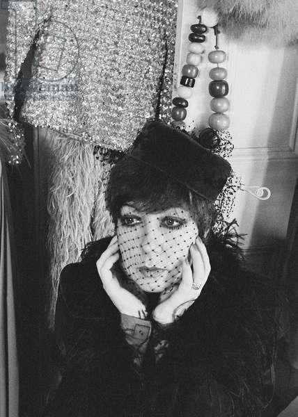 Molly Parkin chin in hands, 1974 (b/w photo)