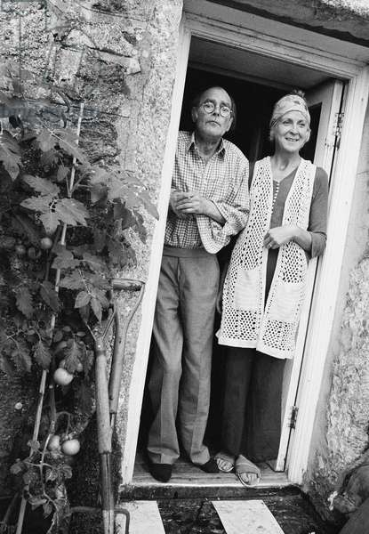 Roger Hilton with wife Rose, 1973 (b/w photo)