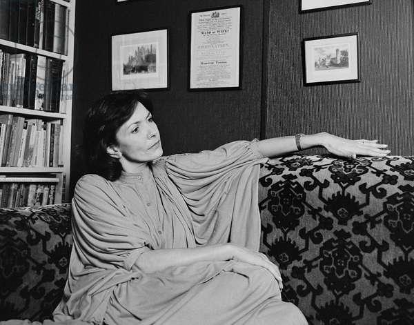 Joan Bakewell on sofa, 1978 (b/w photo)