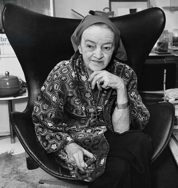 Barbara Hepworth with matchbox, September 1974 (b/w photo)