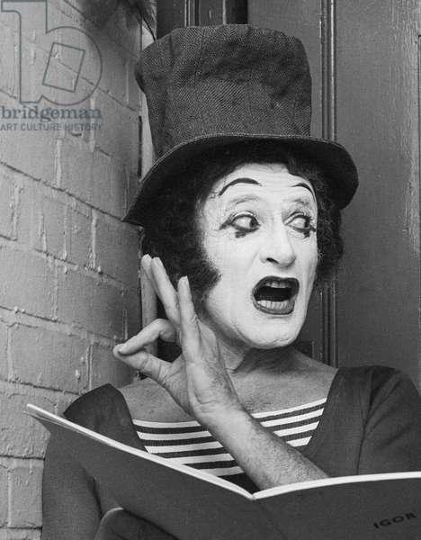 Marcel Marceau, 1975 (b/w photo)