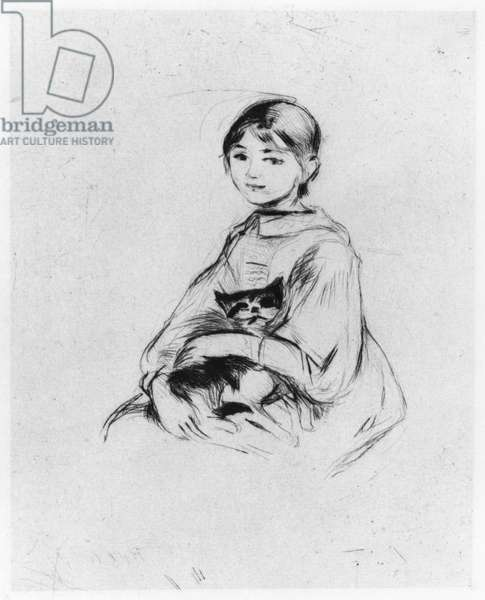 Young girl with cat, 1889 (drypoint)