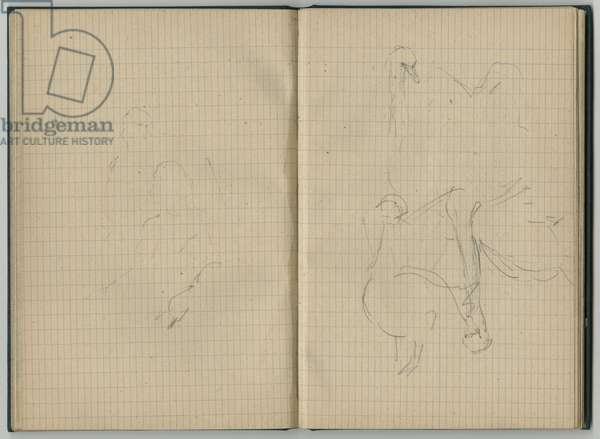 Young girl and swans, from a sketchbook, 1886 (pencil on paper)