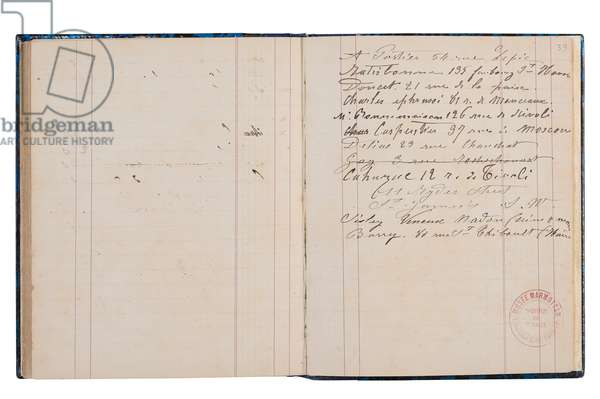 Double page of addresses from Monet's book of accounts, 1877-81 (pen & ink on paper)