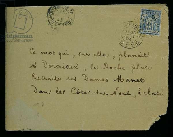 Envelope of a letter to Berthe Morisot (1841-95) 1894 (pen & ink on paper)