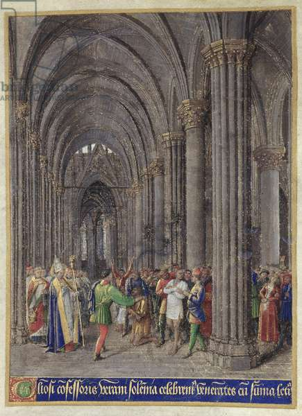 St. Veran exorcising the possessed in the north aisle of the Cathedral of Notre-Dame de Paris, from the 'Heures d'Etienne Chevalier', 1452-60 (vellum)