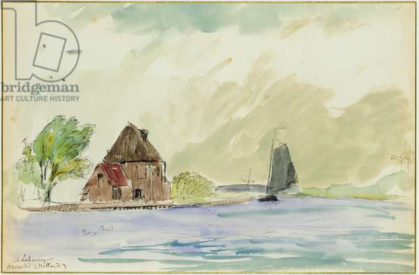 The Banks of the River Meuse in Overschi, 1897 (w/c on paper)