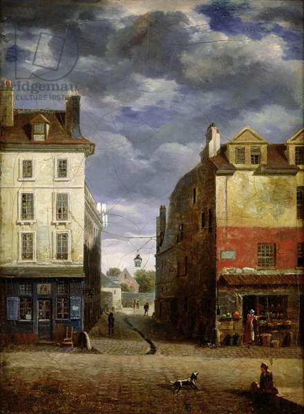 A Street in Old Paris (oil on canvas)