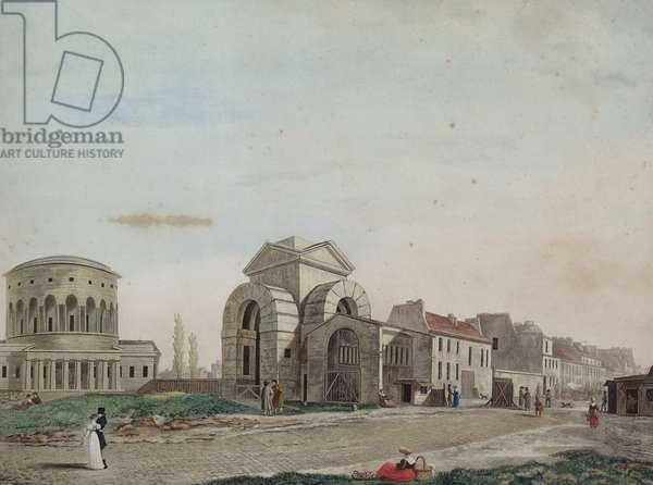 Barriere du Faubourg Saint-Martin, 1809 (pencil & coloured aquatint)