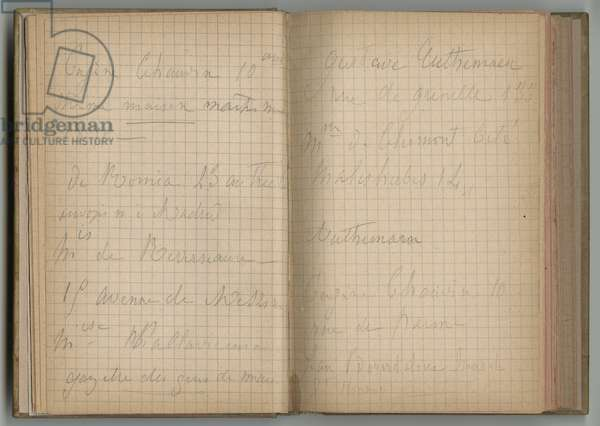 Handwritten pages, from a sketchbook, 1885, 1887-88 (pencil on paper)
