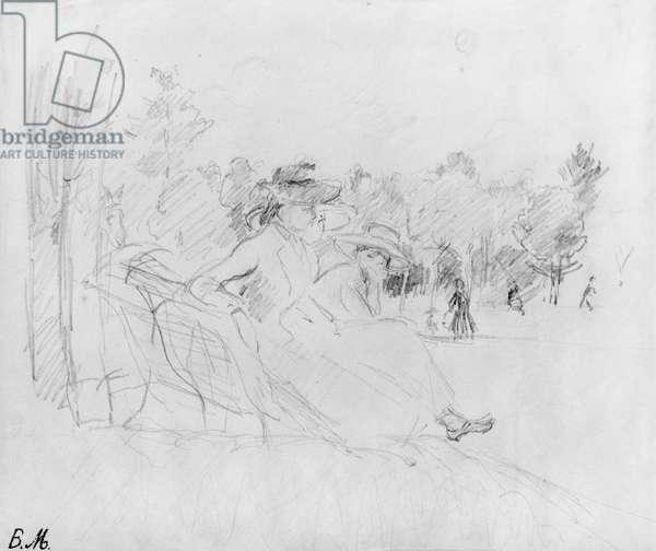 At the Bois de Boulogne, 1888 (black lead on paper)