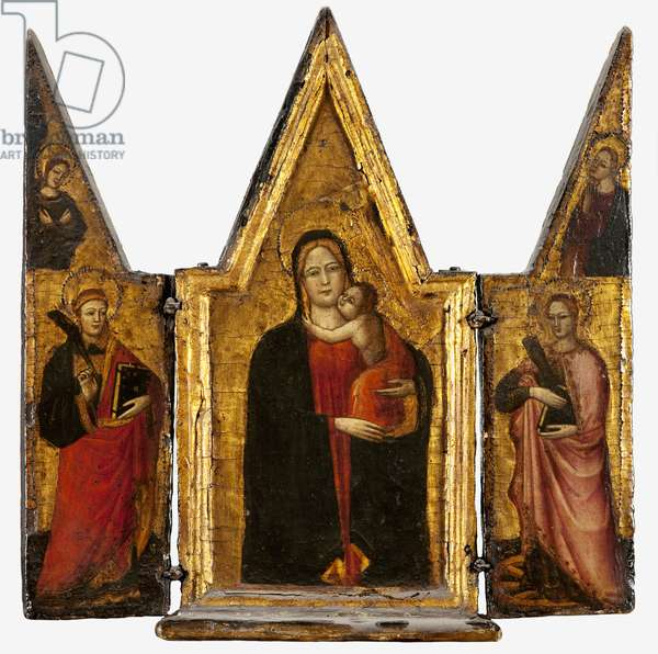 Virgin and child with a saint deacon and St. Catherine of Alexandria (tempera & gold leaf on panel)