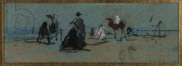 Women and horse on the beach (pastel)