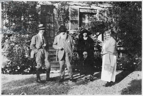 Michel Monet, Claude Monet, Fukuko Naruse and Blanche Hoschedé Monet, Giverny, 1921 (b/w photo)