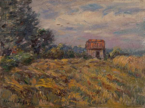 Shed in a field (oil on panel)