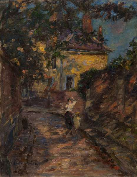 Young woman and child in an alley (oil on panel)