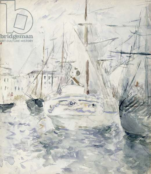 White Boat in the Port, Nice, 1881 (w/c on paper)