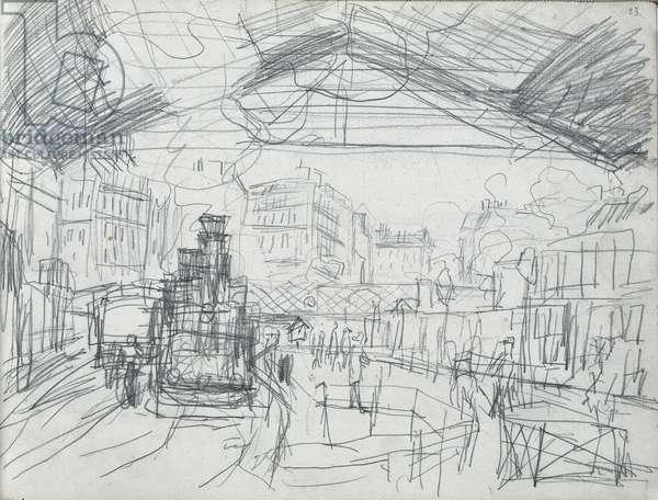 Sketch of the Interior of the Gare Saint-Lazare (pencil on paper)