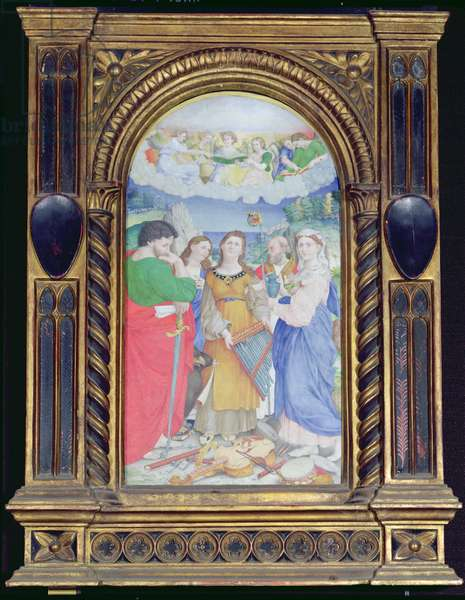 St. Cecilia surrounded by St. Paul, St. John the Evangelist, St. Augustine and Mary Magdalene, (gouache on vellum) (see 182507 and 228955)