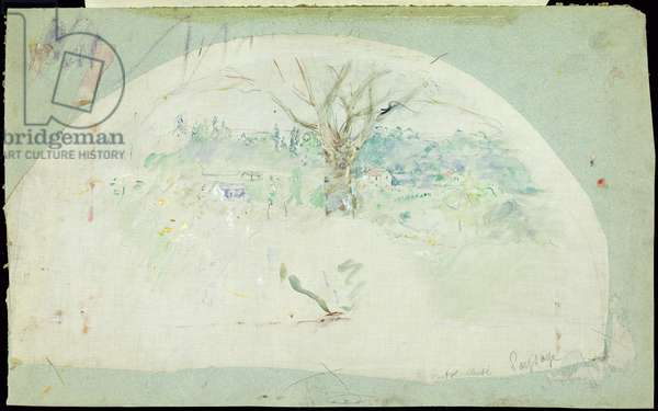 Fan depicting Bougival, 1884 (oil, pencil & w/c on silk)