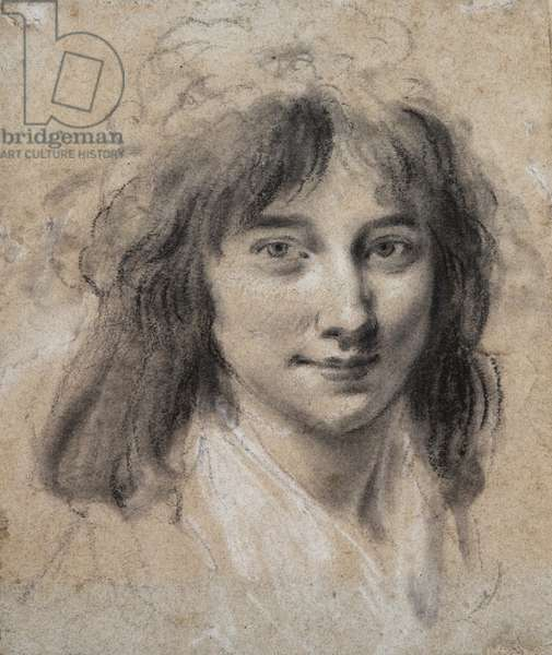 Portrait of a young lady (black & white chalk on paper)