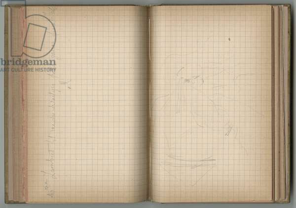 Handwritten address and seated figure, from a sketchbook, 1885, 1887-88 (pencil on paper)
