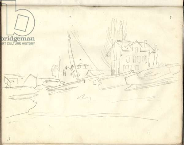 The Petit-Gennevilliers seen from upstream (pencil on paper)