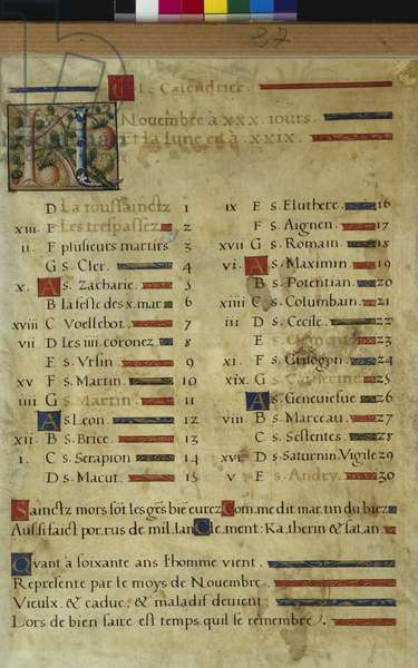 Calendar page for November, from a book of hours, c.1550-60 (vellum)