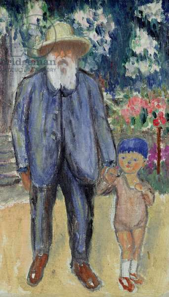 Portrait of Claude Monet (1840-1926) and the child of the painter, 1926 (oil on canvas)