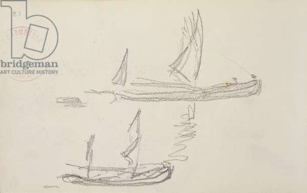Study for London series, Boats on the Thames (pencil on paper)