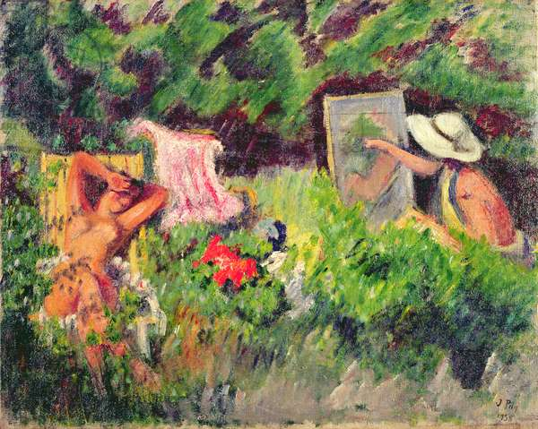 The Model in the Garden (oil on canvas)