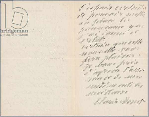 Autographed letter from Claude Monet to Paul Leon relating his first operation and the donation of the Waterlilies pannels, 1923 (pencil on paper)