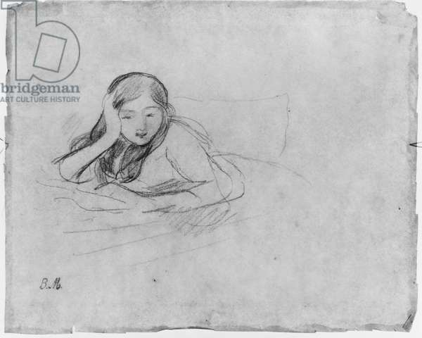 Young girl reading, 1889 (black lead on paper)